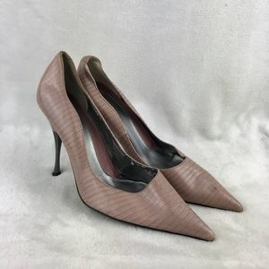 Linea Paolo Leather Reptile Embossed Stilettos